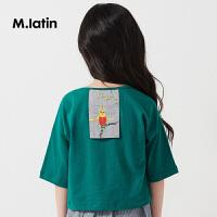 【1件4折价:95.6元】马拉丁童装女童短袖夏装2019新款圆领图案贴布印花t恤纯棉上衣