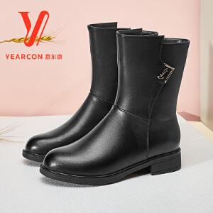 【中筒保暖加绒女靴】意尔康女鞋2018冬季新款女靴粗跟短筒靴加绒保暖棉靴子