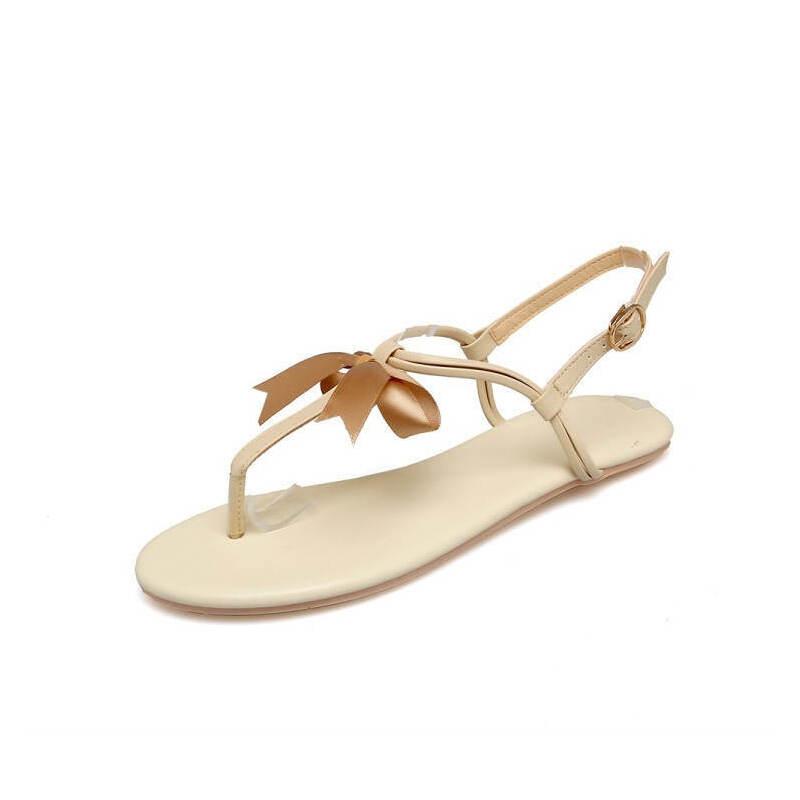 ELEISE美国艾蕾莎新品162-777韩版超纤皮平跟舒适女士凉鞋