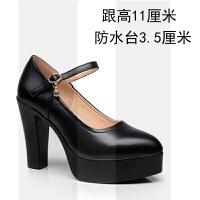 旗袍鞋走秀演出高跟鞋粗跟模特鞋真皮工作鞋黑大码女鞋浅口单鞋女SN2871