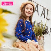 【秒杀价:49】笛莎童装女童针织衫2019秋季新款中大童儿童印花长袖套头针织衫