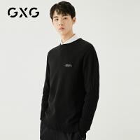 【新款】GXG男装 2020秋冬黑色休闲圆领低领毛衫毛衣男GA120508G