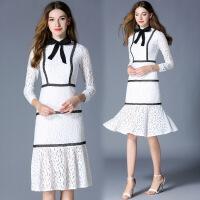 2018新款欧美女装时尚中长款修身连衣裙包臀蕾丝鱼尾显瘦礼服 白色 S