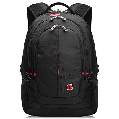 瑞士军刀SWISSGEAR 双肩包防水时尚休闲双肩笔记本电脑包14.6英寸 男女商务双肩背包书包 黑色