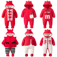 201805062440793女婴儿连体衣服秋冬季0岁3个月1宝宝冬装6新生儿套装棉衣加厚睡衣
