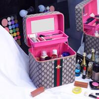 大容量化妆包韩国可爱手提化妆箱护肤品收纳包大小旅行洗漱包 棕色【双层加高】
