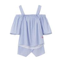【1件2折到手价:31.2】美特斯邦威衬衫女夏季新款女都露肩短袖衬衫