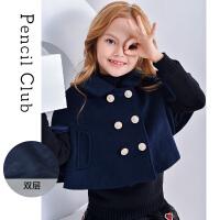 【2件1.5折价:33.9元】铅笔俱乐部童装2021秋冬款女童毛呢外套中大童上衣儿童长袖外套