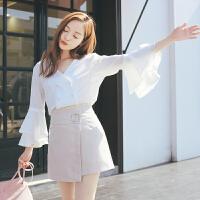夏季初恋雪纺衫喇叭袖少女上衣超火的两件套半身裙高腰短裙套装裙 白色 上衣+裙子现货