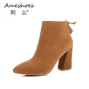 2017冬季韩版粗跟高跟单靴尖头纯色性感切西尔靴女