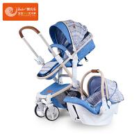 Bair贝尔高景观婴儿推车 儿童推车 折叠可坐可躺 双向避震搭配儿童安全座椅组合装