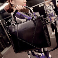 包包新款欧美时尚女包手提斜挎包商务ol通勤公文包女士大包包 拼接黑色 送卡包+钱包