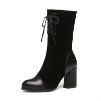 2018新款秋冬季女鞋高跟中筒靴子女粗跟短筒单靴chic马丁靴 黑色 磨砂绒面