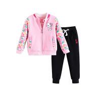 女童套装儿童宝宝加绒加厚外套长裤两件套秋冬装童装