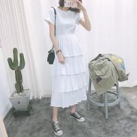 夏季韩国学院风高腰显瘦短袖层层连衣裙女修身气质长裙