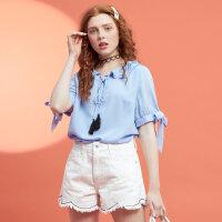 【2件2.5到手价:37.5】美特斯邦威夏装新款可爱娃娃领短袖衫女雪纺衫五分袖衬衫潮8