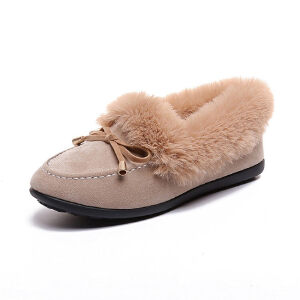 WARORWAR新品YM32-2828冬季韩版平底舒适女士毛毛单鞋