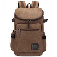 双肩包男帆布户外登山包旅行包中学生书包大容量电脑背包
