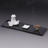 创意青蛙小摆件套装香炉 线香香插陶瓷卧香炉 盘香香座香台