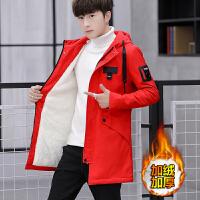 夹克男秋冬新款韩版潮流加绒加厚学生衣服帅气中长款风衣外套 红色 662加绒