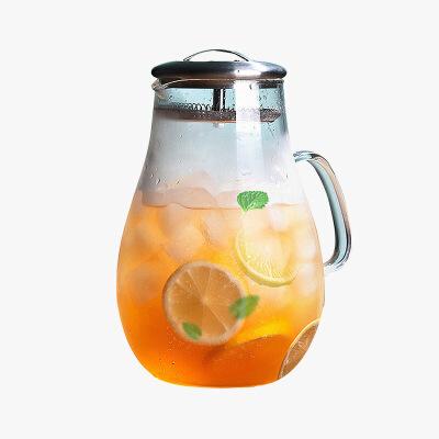 当当优品 防爆透明玻璃冷水壶 1900ml当当自营 耐热玻璃瓶 不锈钢盖凉水杯 耐高温 高硼硅玻璃水壶 一壶多用