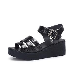 骆驼女鞋 2018夏季新款 韩版舒适时尚休闲坡跟一字搭扣百搭凉鞋女