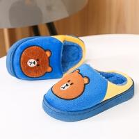 儿童拖鞋秋冬季卡通滑宝宝居家室内男童女童保暖包跟棉拖鞋新款