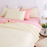 纯色被套单件纯棉全棉夏季学生宿舍单人2三件套被罩双人床单被单 乳白色 奶白玉