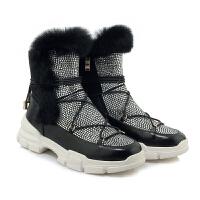 秋冬季新款雪地靴女真皮加绒厚底水钻短筒平底中跟兔毛毛棉短靴潮软底 杏色 运费险