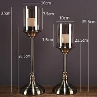 简约美式餐桌样板房软装饰品摆件欧式烛光晚餐道具水晶金属蜡烛台 788一套