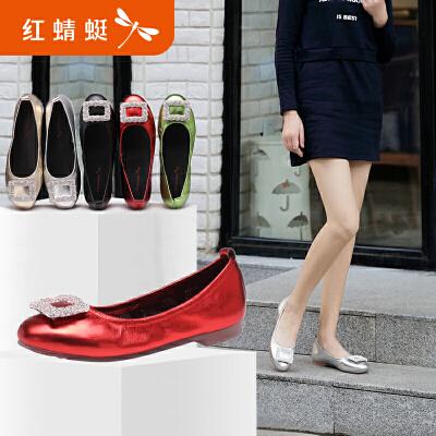 红蜻蜓真皮女单鞋新款正品方扣舒适柔软平底鞋休闲女单鞋