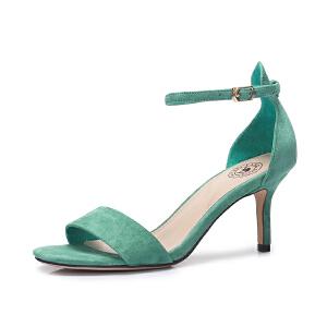 骆驼女鞋 2018新款夏韩版一字扣带高跟鞋 简约舒适细跟凉鞋晚晚鞋