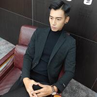 男士小西装套装休闲英伦礼服秋西服外套2018新款韩版修身条纹
