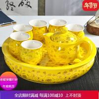 景德镇陶瓷功夫茶具 整套紫砂茶具套装 茶具双层隔热茶盘茶杯茶壶 自店营年货