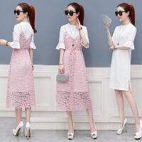 套装裙子两件套 b2018夏季新款蕾丝吊带连衣裙女韩版夏装