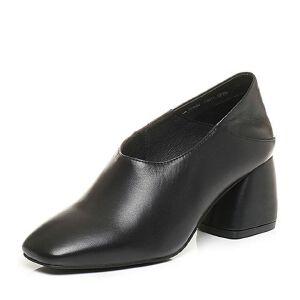 Tata/他她2017秋羊皮时尚方头鞋粗高跟奶奶鞋女皮鞋FU620CM7