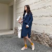 复古宽松中长款牛仔外套女2018春季韩版大码风衣 均码