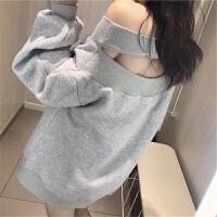 加绒卫衣女秋冬新款港味性感一字领镂空灯笼袖拼接打底衫上衣 浅灰色 均码