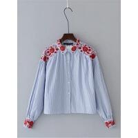 女装 春装新款韩版时尚修身显瘦气质翻领条纹刺绣长袖衬衫女