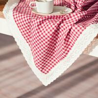 格子桌布布艺田园茶几桌布棉麻蕾丝桌布小清新茶几布文艺桌布