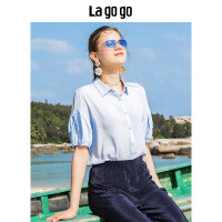 Lagogo/拉谷谷2018夏季新款时尚小翻领蝴蝶结短袖衬衫HACC234A13