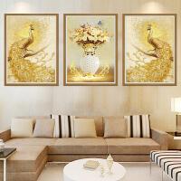 墙纸客厅装饰墙贴三联画沙发背景墙壁画美式简欧玄关卧室凤凰孔雀