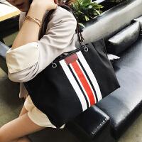 帆布包包女包2018新款韩版撞色单肩包时尚个性大容量手提包托特包