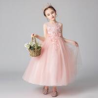 女童公主裙夏季蓬蓬白纱裙儿童礼服主持人背心连衣裙小女孩长裙子