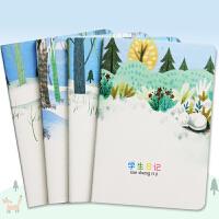 学生方格日记本 线缝32K卡通小清新学生日记作业本