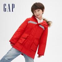 Gap男童保暖棉服秋冬515358洋�馔��b�_�h衣中�L款加厚棉衣外套