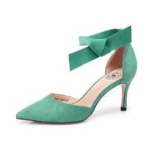 Camel/骆驼女鞋 2018春季新款 性感尖头高跟鞋舒适绑带细跟浅口单鞋女