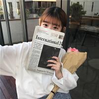 韩版chic复古男友风衬衫冬季女装宽松百搭纯白色长袖衬衣打底上衣