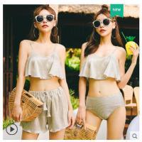 新款分体泳衣女裙式沙滩温泉游泳装小胸聚拢比基尼三件套性感