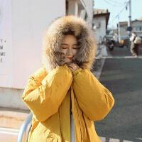 冬季外套加厚韩版学生宽松中长款过膝棉衣毛领棉袄女新款 黄色 (人造毛) S (80-105斤)
